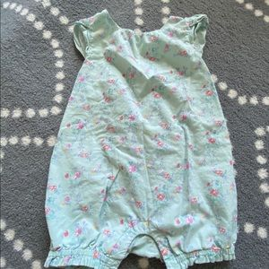 Green floral romper with cap sleeves - 12-18M